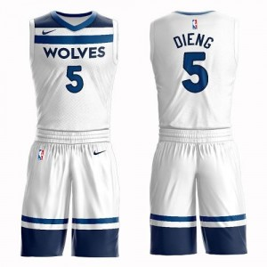 Nike Maillot De Basket Dieng Timberwolves #5 Blanc Suit Association Edition Enfant