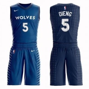 Nike Maillots De Basket Gorgui Dieng Timberwolves #5 Enfant Bleu Suit