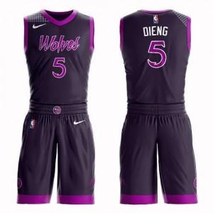 Maillots De Dieng Timberwolves No.5 Enfant Violet Suit City Edition Nike