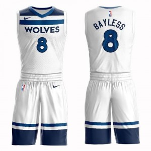 Nike Maillots Jerryd Bayless Minnesota Timberwolves No.8 Blanc Suit Association Edition Homme