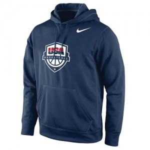 Hoodie Basket Team USA Homme bleu marine Basketball Logo Pullover Nike