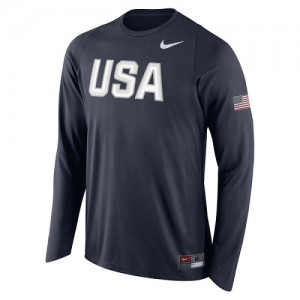 Nike NBA T-Shirt Team USA bleu marine USA Basketball Shooter Long Sleeve Homme