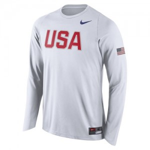 Nike NBA Tee-Shirt Team USA USA Basketball Shooter Long Sleeve Blanc Homme