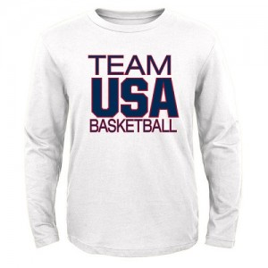 NBA Tee-Shirt Basket Team USA Blanc USA Basketball Pride Long Sleeve Homme