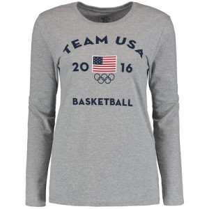 Tee-Shirt Basket Team USA Gris Femme Men's Basketball Long Sleeve Very Official National Governing Bodies