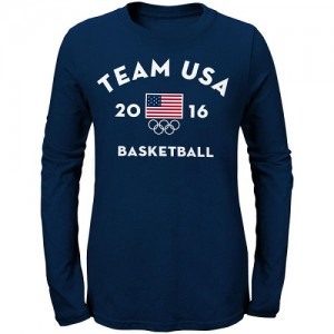 T-Shirt De Team USA Femme bleu marine Men's Basketball Long Sleeve Very Official National Governing Bodies