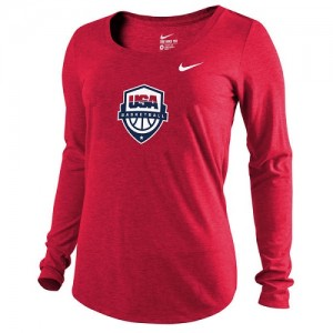 Nike NBA T-Shirt Team USA Rouge Femme Men's Basketball Scoop Tri-Blend Long Sleeve