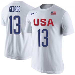Nike Tee-Shirt Basket Team USA Paul George USA Basketball Rio Replica Name & Number Blanc Homme