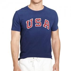 Tee-Shirt De Team USA Homme Polo Ralph Lauren 2016 Olympics bleu marine