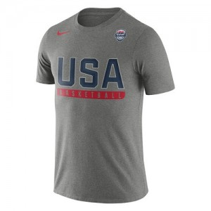 Nike NBA T-Shirt Team USA Homme Gris USA Basketball Practice Dri-FIT
