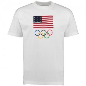 Tee-Shirt De Team USA Blanc USA Olympics Flag Five Rings Homme