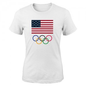 T-Shirt De Team USA Femme Rouge Men's 2016 Olympics Flags & Rings