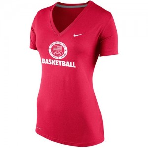 Nike NBA Tee-Shirt De Basket Team USA Femme Basketball Performance V-Neck Rouge