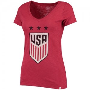 Tee-Shirt Team USA US Soccer '47 Three Stars Scrum V-Neck Rouge Femme