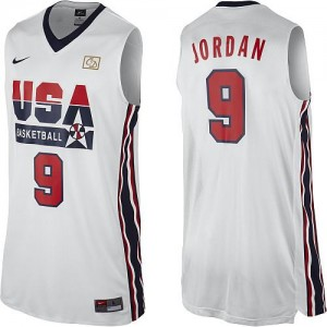 Maillots Basket Michael Jordan Team USA Nike 2012 Olympic Retro Throwback Basketball Homme Blanc #9