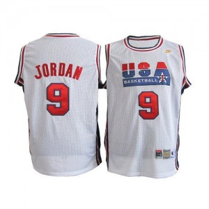 Nike NBA Maillot Basket Michael Jordan Team USA Blanc #9 Throwback Basketball Homme
