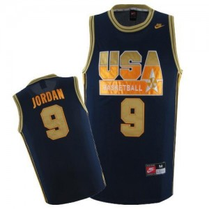 Nike NBA Maillots Jordan Team USA bleu marine / or #9 Homme Basketball