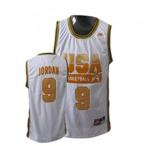 Maillots Michael Jordan Team USA #9 Rouge / or Homme Basketball Nike
