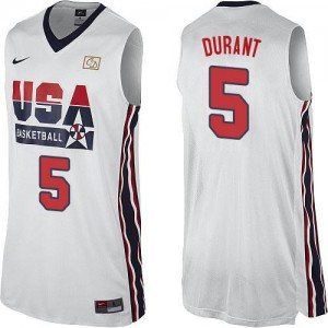 Nike NBA Maillot Kevin Durant Team USA Blanc No.5 2012 Olympic Retro Throwback Basketball Homme