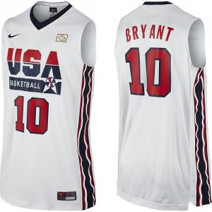 Nike NBA Maillot Kobe Bryant Team USA No.10 Blanc 2012 Olympic Retro Throwback Basketball Homme