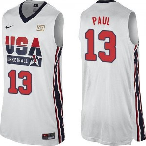 Maillot Basket Paul Team USA Nike Blanc Homme #13 2012 Olympic Retro Throwback Basketball