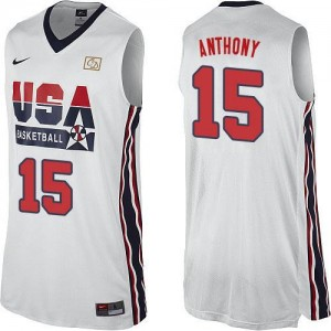 Maillots Carmelo Anthony Team USA Homme 2012 Olympic Retro Throwback Basketball Nike Blanc #15