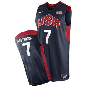 Nike Maillots Basket Russell Westbrook Team USA #7 Homme bleu marine 2012 Olympics Basketball