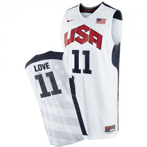 Maillot Kevin Love Team USA 2012 Olympics Basketball Blanc Homme Nike #11