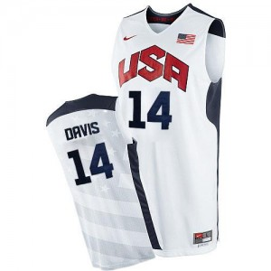 Maillots Anthony Davis Team USA Nike Blanc Homme No.14 2012 Olympics Basketball