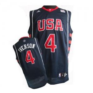 Nike Maillot De Allen Iverson Team USA Summer Olympics Basketball No.4 Homme bleu marine