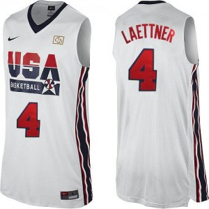Nike NBA Maillot Basket Christian Laettner Team USA #4 2012 Olympic Retro Throwback Basketball Homme Blanc