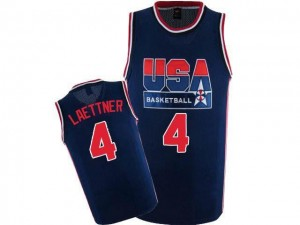 Maillots Laettner Team USA 2012 Olympic Retro Throwback Basketball #4 Nike Homme bleu marine