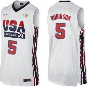 Nike Maillot De David Robinson Team USA #5 Homme 2012 Olympic Retro Throwback Basketball Blanc