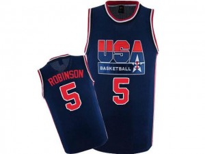 Nike NBA Maillots De Basket Robinson Team USA #5 bleu marine 2012 Olympic Retro Throwback Basketball Homme
