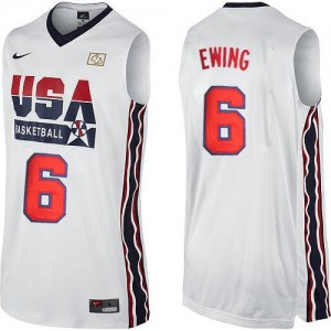 Nike Maillot Basket Ewing Team USA No.6 Homme Blanc 2012 Olympic Retro Throwback Basketball