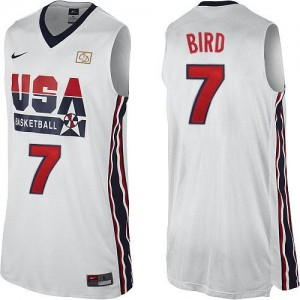 Nike Maillot De Bird Team USA #7 Homme Blanc 2012 Olympic Retro Throwback Basketball