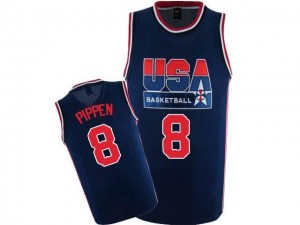 Maillots Basket Pippen Team USA Nike 2012 Olympic Retro Throwback Basketball No.8 bleu marine Homme