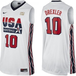 Maillot Basket Drexler Team USA No.10 2012 Olympic Retro Throwback Basketball Homme Blanc Nike
