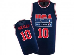 Nike Maillot Drexler Team USA Homme bleu marine 2012 Olympic Retro Throwback Basketball #10