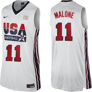 Nike NBA Maillot Basket Malone Team USA Homme 2012 Olympic Retro Throwback Basketball No.11 Blanc