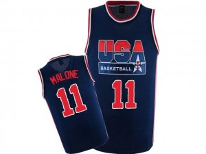Nike Maillots De Malone Team USA bleu marine 2012 Olympic Retro Throwback Basketball #11 Homme