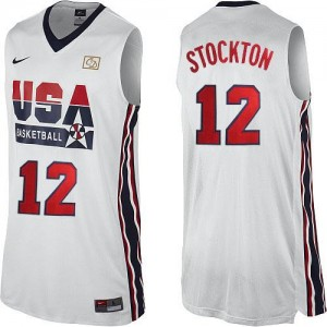 Maillot Basket John Stockton Team USA 2012 Olympic Retro Throwback Basketball Homme No.12 Blanc Nike