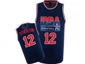 Maillot De John Stockton Team USA Homme bleu marine 2012 Olympic Retro Throwback Basketball #12 Nike