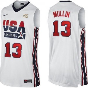 Nike Maillots De Mullin Team USA Homme #13 Blanc 2012 Olympic Retro Throwback Basketball