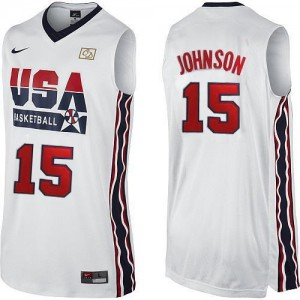 Nike NBA Maillots Basket Magic Johnson Team USA Homme 2012 Olympic Retro Throwback Basketball #15 Blanc