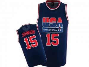 Maillot De Basket Johnson Team USA Homme #15 bleu marine 2012 Olympic Retro Throwback Basketball Nike