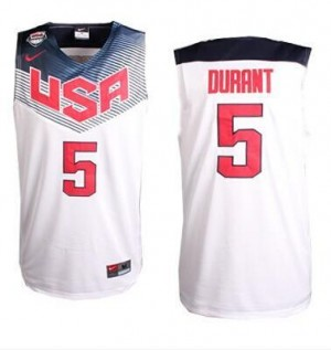 Maillots De Basket Kevin Durant Team USA Homme 2014 Dream Team Basketball Nike Blanc No.5
