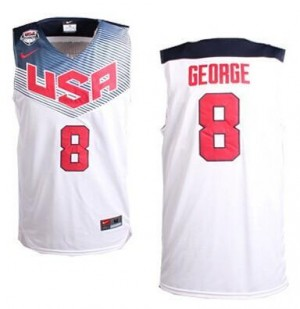 Maillots George Team USA Nike No.8 2014 Dream Team Basketball Homme Blanc