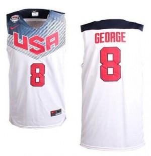 Maillots George Team USA Nike No.8 2014 Dream Team Basketball Homme Blanc