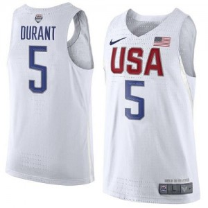 Nike NBA Maillots Durant Team USA Blanc 2016 Olympics Basketball Homme #5